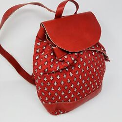 Les Olivades Red Quilted Cotton Backpack Drawstring Leather Accents Snap France