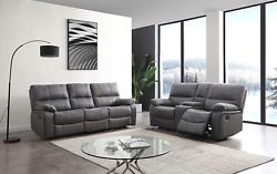 Betsy Furniture Microfiber Reclining Sofa Couch Set Living Room Set 8007 Grey
