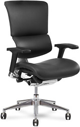 X Chair Office Desk Chair X4 Black Leather Wide Ergonomic Lumbar Support Task