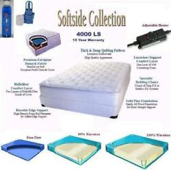 Queen Softside Pillow Top Complete Waterbed With Mattress Foundation Frame He