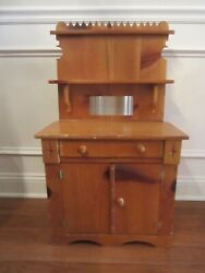 Vintage Childs Play Wooden Kitchen Cabinet/hutch Handmade Signed 32 X 18 1/2