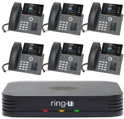 Ring-u Hello Hub Small Business Pbx Phone System And Service Voip 6-phone Bundle