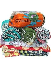 Indian Cotton Twin Size Kantha Quilt Ethnic Wholesale Lot 200 Pc Gudri Blanket