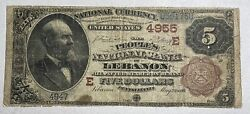 1882 5 Peopleand039s National Bank Of Lebanon Pa Large Size National