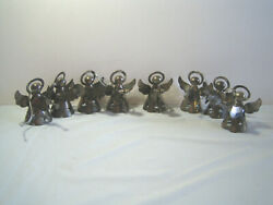 Vintage Silver Plated Angel Christmas Tree Ornament - Set Of 8 - 2 1/2