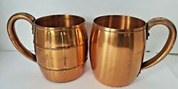 Vintage West Bend Solid Copper Mugs 2 Styles 3.5 Inches Tall