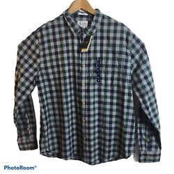 Lucky Brand Mens Xl Button Front Blue Green Check L/s Shirt Slim Fit 69
