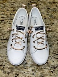 Sperry Top Sider Leather Girls Unisex Silver Loafer Boat Shoes Size 2.5 M NIB $28.00