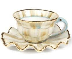 Mackenzie-childs Parchment Check Ceramic Teacup And Saucer Set - New