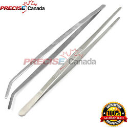Set Of 2 Thumb Dressing Forceps 24 Long Huge Tweezers Straight And Curved