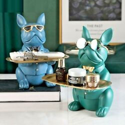 French Bulldog Sculpture Key Jewelry Storage Table Dog Waiter With Plate Glasses