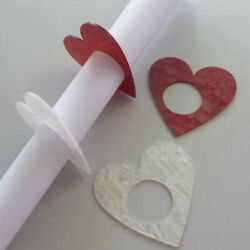 Napkin Rings Place Cards Shine Heart Wedding Christening Red Or Cream