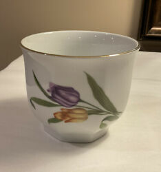 Bareuther Waldsassen Tulips Flower Pot /vase Cache Pot 4 Tall With Gold Rim