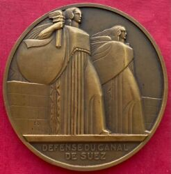 Egypt Monument For The Defence Of Suez Canal Bronze Medal 1930 Delamarre Rare