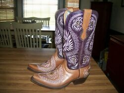 Womenand039s Lucchese 1883 M4836.s54 Ornamental Laurel Leaf Cognac/purple Cowgirl Boo