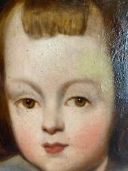 Antique 19th C Folk Art Portrait Painting Of A Young Boy In Royal Attire