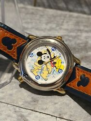 Lorus Disney Mickey Mouse Melody Watch In Silver Tone Case/2-tone Leather Band