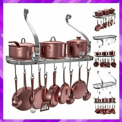 Pot Rack Square Grid Wall Mount With 10 Hooks Kitchen Cookware 24 X 10 By Vdomus