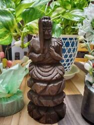 Fudo Myoo Sitting Statue Wood Carving Material Cypress Height 15 Width 5 Cm Used