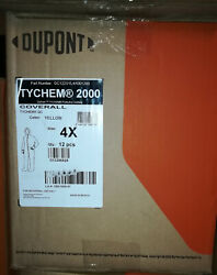 Case Of 12 Dupont Tyvek Tychem Coverall With Hood And Booties, Qc122s 4xl Yellow