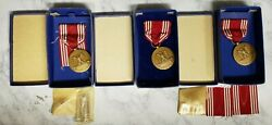 Lot Of 3 Wwii U.s. Army Medal Efficiency Honor Fidelity Good Conduct With Extras
