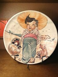 Vintage Mexican Pottery Large Bowl Boy Chihuahua Catalina Style