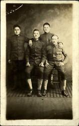 Wwi Real Photo Rppc Group Of Us Army Soldiers In Uniform Spats