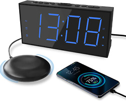 Extra Loud Alarm Clock with Bed Shaker Vibrating Alarm Clock for Heavy Sleepers