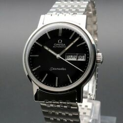Omega Seamaster Vintage Cal.1022 Overhaul Day Date Black Automatic Mens Watch