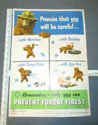 1952 Smokey The Bear Wildfire Prevention Us Conservation Poster Sign Cardboard