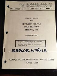 Operators Manual For Recovery Vehicle Full Tracked Medium M88