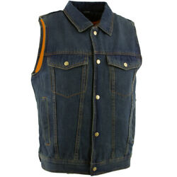 Xelement B284 And039dirtyand039 Menand039s Dirty Blue Denim Motorcycle Vest