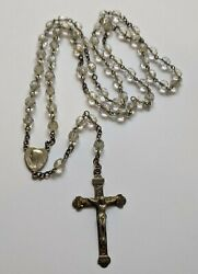 Vintage Sterling Clear Crystal Heart Rosary Beads
