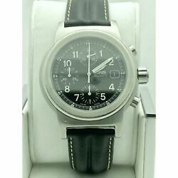 Oris Menand039s Automatic Swiss Black Dial Black Leather Strap Watch 7511