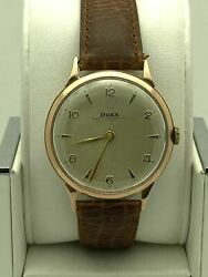 Doxa Anti-magnetic 14k Rose Gold Mechanical Vintage Menand039s Watch 56982