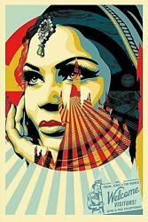 Street Art Shepard Fairey Obey Giant Target Exceptions Offset Sign 61 X 91 Cm.