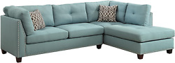 Acme Furniture Larissa Sectional Sofa With Ottoman Light Teal Linen