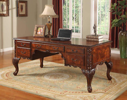 Best Master Furniture Carlisle Executive Traditional Office Desk With Hand Carve