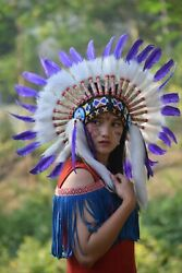 Warbonnet Purple Swan Feather White Fur Indian Headdress Native American Small