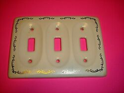 One White Porcelain Wall Triple Switch Plate Cover With Gold Trim Tile