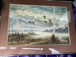 Gerald Pettit Framed Wildlife Listed Artist Watercolor Geese And Birch Trees