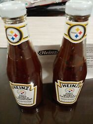 2 Pittsburgh Steelers Heinz Ketchup Glass Bottle 2005 World Champions Sealed