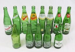 Vintage Acl Green Glass Soda Pop Bottle Lot Mexico Squirt Fresca 7up Liano's