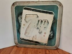Vintage 7up Soda Advertising Sign Embossed Dated 1946 Measures 14x14