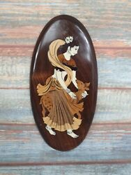 Vintage Indian Wall Plaque Wooden Inlayed Bone Lady With Goat 36cm Tall Oval
