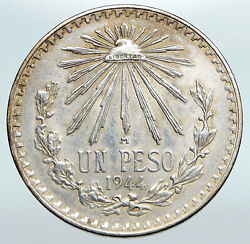 1943 Mexico Eagle Liberty Cap Large Vintage Old Silver Peso Mexican Coin I90750