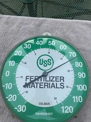 Uss Fertilizer Seed Feed Advertising Thermometer Sign