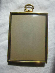 Vintage Metal Goldtone Convex Glass Desktop Easel Wall Small 3.5x4.5 Photo Frame