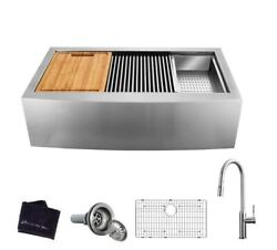 Farmhouse Apron Front Stainless Steel 30 In. Single Bowl Workstation Sink