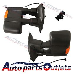 Manual Towing Mirrors Side Mirror W/amber Turn Signal For 08-15 F250 F350